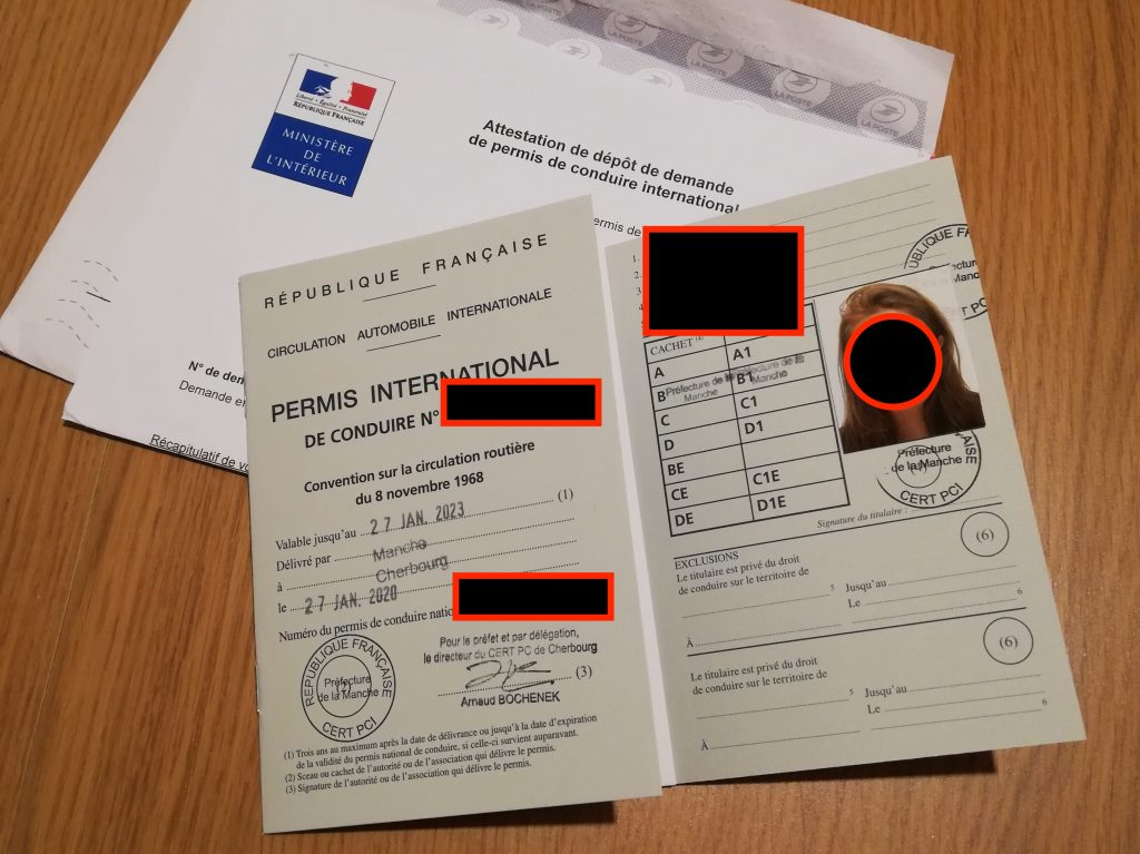 Photo de mon permis de conduire international reçu en 2 mois