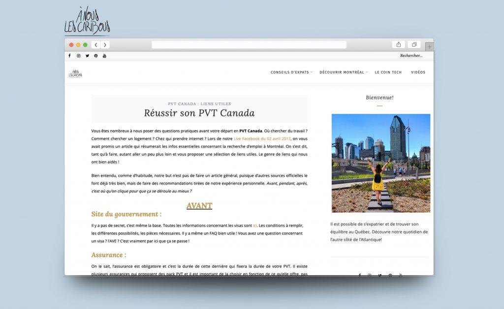 Site Internet du blog A nous les caribous